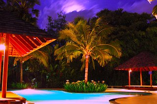 Night views of the main pool